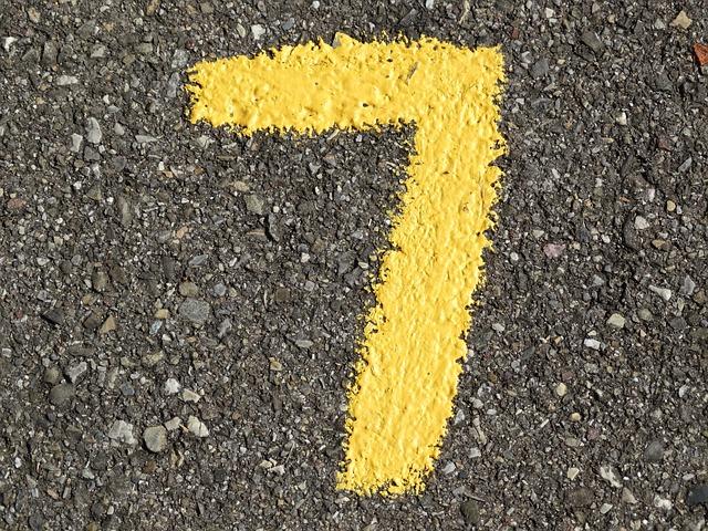 chiffre 7 sur le sol